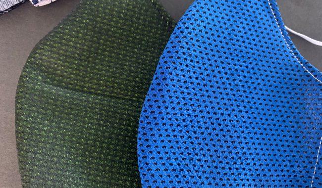 夏でも安心クール素材にて縫製マスク製造